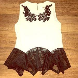 Oska Cream embroidered blouse